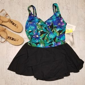 NEW Longitude Swimsuit SZ 16 Black, Blue and Green